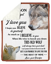 """Grandson This Old Wolf will always have your back Sherpa Fleece Blanket - 50"""" x 60"""" front"""