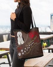 Bichon-Frise-dog-the-road-to-my-heart All-over Tote aos-all-over-tote-lifestyle-front-04