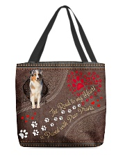 Aussie-dog-the-road-to-my-heart All-over Tote front