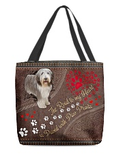 Beared-Collie-dog-the-road-to-my-heart All-over Tote back