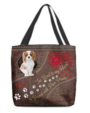 Cavalier-King-Charles-Spaniel-dog-road-to-heart All-over Tote back