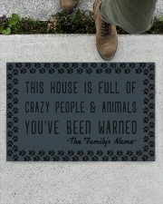 """This house is full of crazy people n animals Doormat 22.5"""" x 15""""  aos-doormat-22-5x15-lifestyle-front-01"""