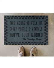 """This house is full of crazy people n animals Doormat 22.5"""" x 15""""  aos-doormat-22-5x15-lifestyle-front-04"""