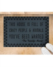 """This house is full of crazy people n animals Doormat 22.5"""" x 15""""  aos-doormat-22-5x15-lifestyle-front-05"""
