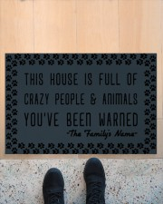 """This house is full of crazy people n animals Doormat 22.5"""" x 15""""  aos-doormat-22-5x15-lifestyle-front-10"""