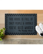 """This house is full of crazy people n animals Doormat 22.5"""" x 15""""  aos-doormat-22-5x15-lifestyle-front-12"""