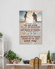 Never Feel That U Are Alone Baseball Dad To Son 16x24 Gallery Wrapped Canvas Prints aos-canvas-pgw-16x24-lifestyle-front-18