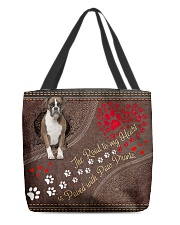Boxer-dog-the-road-to-my-heart All-over Tote back