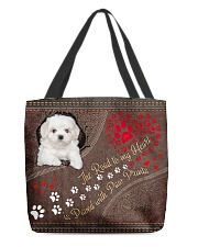 Coton-de-Tulear-dog-the-road-to-my-heart All-over Tote back