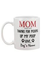 Personalized Name funny Dog Mom picking poop Mug back