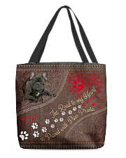 The Road To My Heart Is Paved With Paw French Bull All-over Tote front