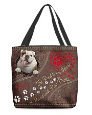 Bulldog-dog-the-road-to-my-heart All-over Tote front