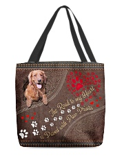 The Road To My Heart Is Paved Paw Golden Retriever All-over Tote front