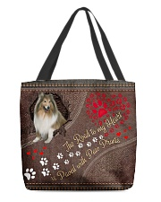 Shetland-Sheepdog-dog-the-road-to-my-heart All-over Tote front