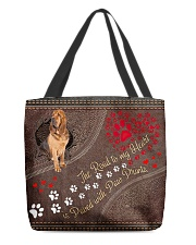 Bloodhound-dog-the-road-to-my-heart All-over Tote back