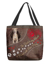 Greyhound-dog-the-road-to-my-heart All-over Tote back