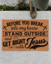 """Before You Break Into My House Stand Outside Doormat 22.5"""" x 15""""  aos-doormat-22-5x15-lifestyle-front-01"""