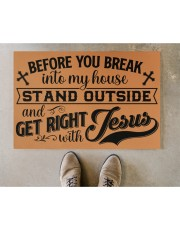 """Before You Break Into My House Stand Outside Doormat 22.5"""" x 15""""  aos-doormat-22-5x15-lifestyle-front-04"""
