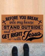 """Before You Break Into My House Stand Outside Doormat 22.5"""" x 15""""  aos-doormat-22-5x15-lifestyle-front-10"""