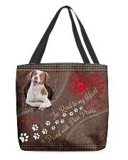 Brittany-dog-the-road-to-my-heart All-over Tote back