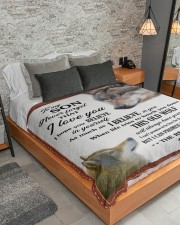 """To My Son Love You For the Rest Of Mine Large Sherpa Fleece Blanket - 60"""" x 80"""" aos-sherpa-fleece-blanket-lifestyle-front-04"""