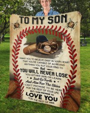 """I Want U To Believe In Your Heart Baseball To Son Fleece Blanket - 50"""" x 60"""" aos-coral-fleece-blanket-50x60-lifestyle-front-02b"""