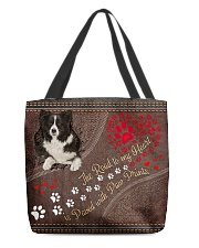 Border-Collie-dog-the-road-to-my-heart- All-over Tote front