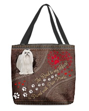 Maltese-dog-the-road-to-my-heart All-over Tote back
