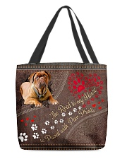 Dogue-De-Bordeaux-dog-the-road-to-my-heart- All-over Tote front