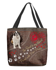 Saint-Bernard-dog-the-road-to-my-heart All-over Tote front