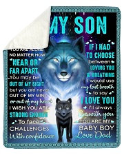 "Never Feel That U Are Alone Wolf Dad To Son Sherpa Fleece Blanket - 50"" x 60"" thumbnail"