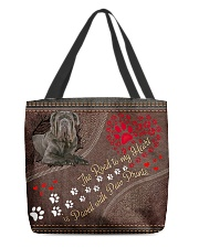 Neopolitan-Mastiff-dog-the-road-to-my-heart All-over Tote back