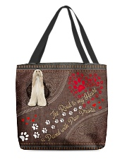 Afghan-Hound-dog-the-road-to-my-heart All-over Tote back