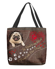 Pug-dog-the-road-to-my-heart All-over Tote back