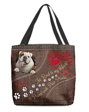 The Road To My Heart Is Paved With Paw Bulldog All-over Tote back