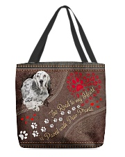 English-Setter-dog-the-road-to-my-heart All-over Tote back
