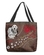 English-Setter-dog-the-road-to-my-heart All-over Tote front
