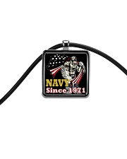NAVY Since 1971 Cord Rectangle Necklace front