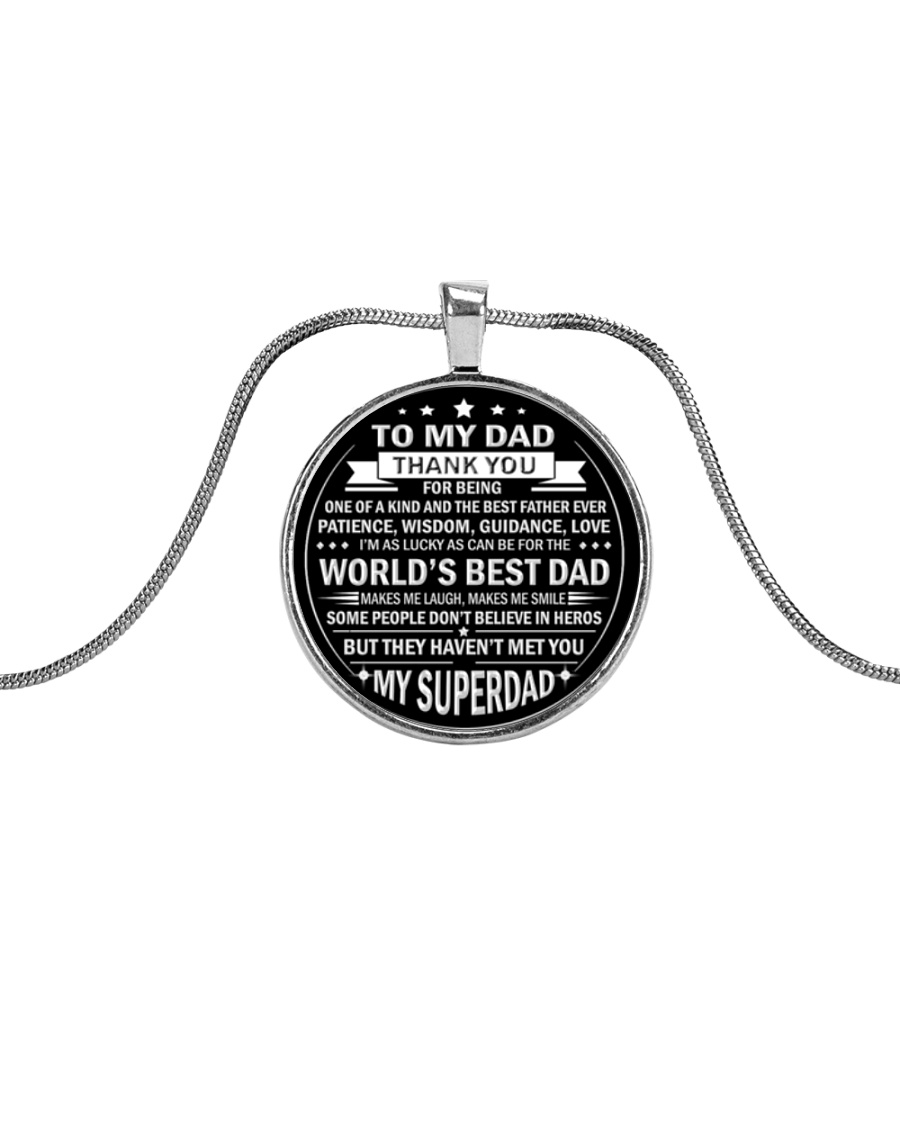Best Father's Day Gift for Dad Father Step Dad Metallic Circle Necklace
