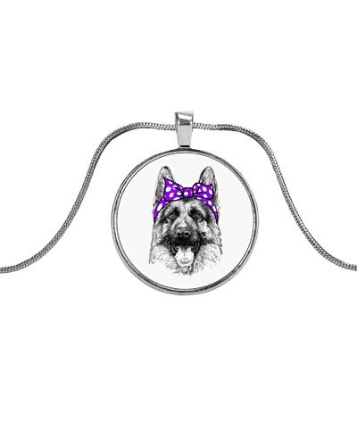 Strong German Shepherd Lady-Purple bow