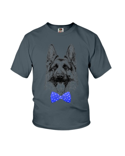 Strong German Shepherd Lady-Royal blue bow tie