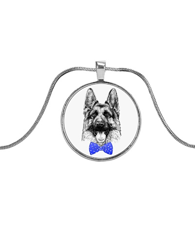 Strong German Shepherd Lady-Royal blue bow tie