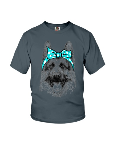 Strong German Shepherd Lady-Cyan bow