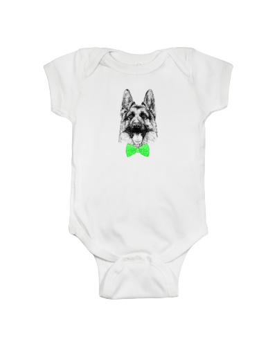 Strong German Shepherd Lady-Green bow tie