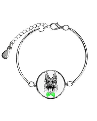 Strong German Shepherd Lady-Green bow tie