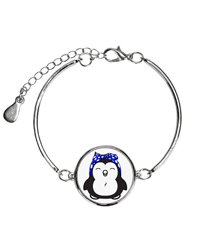 Strong penguin woman-Royal blue bow