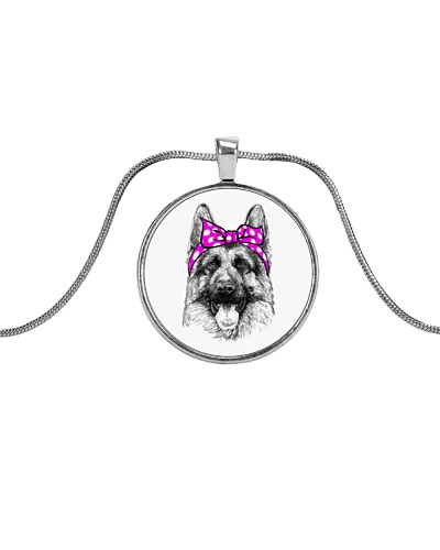 Strong German Shepherd Lady-Pink bow