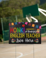 Honk A Wonderful English Teacher Lives Here 18x12 Yard Sign aos-yard-sign-18x12-lifestyle-front-18