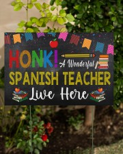 Honk A Wonderful Spanish Teacher Lives Here 18x12 Yard Sign aos-yard-sign-18x12-lifestyle-front-06