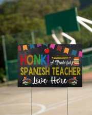 Honk A Wonderful Spanish Teacher Lives Here 18x12 Yard Sign aos-yard-sign-18x12-lifestyle-front-18